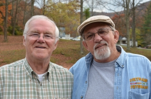 Terry Thomas of Wales and Carl Shoupe of Kentucky meet in Appalachia, 2012.