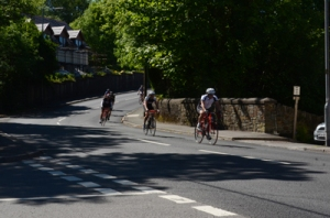 Cyclists in the Village of Crynant.