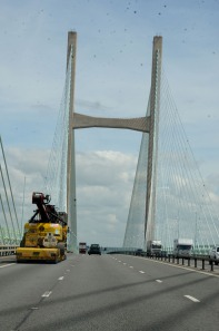 The M4 expressway uses the Severn Bridge to cross the border between England and Wales.